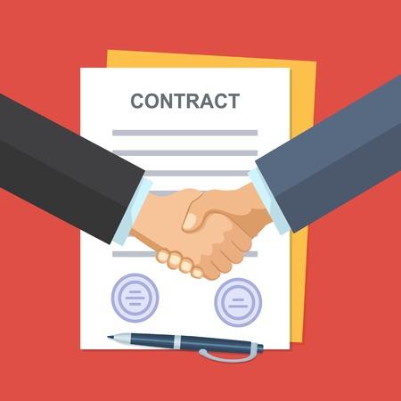 Uścisk dłoni ludzi biznesu na tle umowy. Ilustracje wektorowe