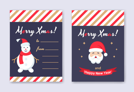 Christmas and New Year greeting cards and banners. Set of flat line design vector illustrations. Happy New Year brochure flyer design template with Santa and snowman icons.  イラスト・ベクター素材