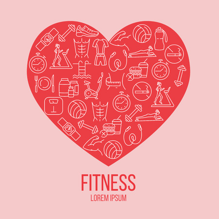 Fitness colorful flat poster