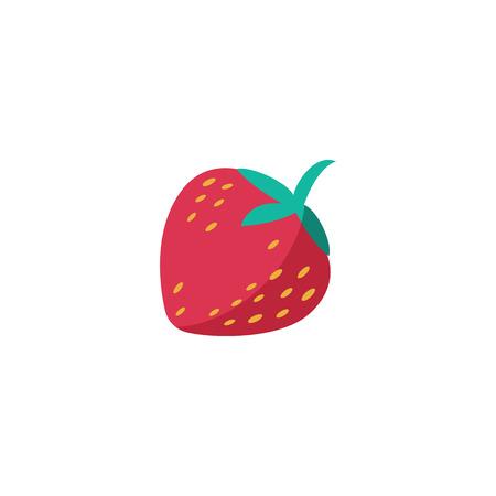 Erdbeer-Symbol. Frucht gesunder Lebensstil Vitamin saftig. Flache Artvektorillustration.