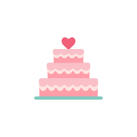 Wedding cake icon. Stacked Engagement cake dessert with heart. Flat style pictogram isolated on white. Love symbol, logo sign. Valentines Day vector illustration. Иллюстрация