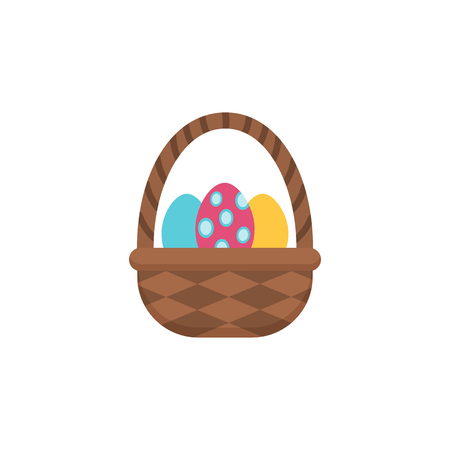 Basket of eggs. Single flat icon on white background. Easter symbol for your web design, logo. Flat illustration. Vector drawing. Editable stroke.