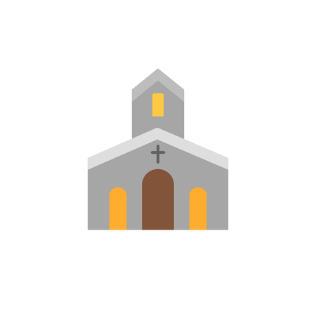 Church flat icon. Modern signs, outline symbols collection, simple temple icon set for websites, web design, mobile app, infographics. Vector drawing.