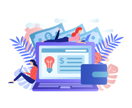 Social network, freelancer concept. Big laptop with girls. Girls blogger work in social media. Girls designers application. Female freelancers make money online. Virtual money vector flat concept.