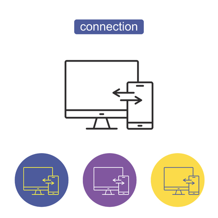 Digital device icon, smartphone and desktop computer. Data transaction line vector sign, symbol, illustration. Devices connection sign. Computer network vector pictogram. Editable stroke.
