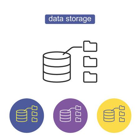 Data Storage with files line Icon. Database sign isolated Illustration on white background. Editable stroke.