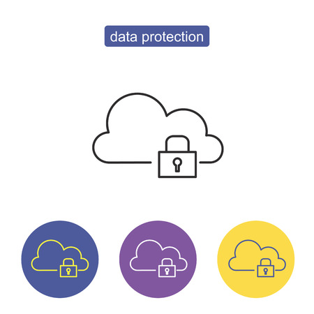 Data protection sign. Hosting cloud icon, cloud computing technology, web network symbol - server connection sign. cloud computing concept, outline vector illustration. Editable stroke. Illustration