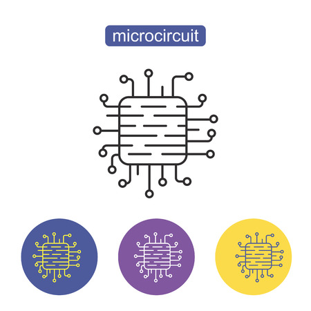 Microchip line icon. Central processing unit, computer processor, chip symbol. Processor with electronic circuits linear icon. Microprocessor with microcircuits. microchip, chipset. Editable stroke.
