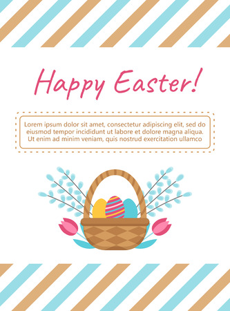 Happy Easter card template with basket and eggs. Symbol of the feast of Easter Decorative design element in a flat style for greeting cards, posters, banners, advertising. Vector art illustration.