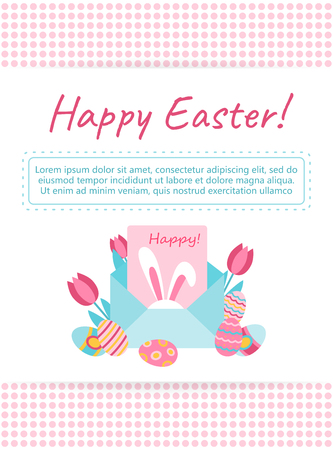 Happy Easter greeting card. Holiday illustration with bunny in envelope. Vector paper mail envelope. Easter Egg and flowers. Decorative design element in a flat style for greeting cards, banners.