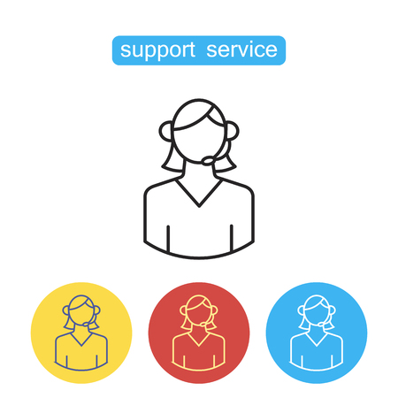 Support line icon. Call center operator in headset. Concept of ask, ui, tech, callback, crm, faq, feedback, e-commerce. Single high quality outline symbol for web design or mobile app. editable stroke