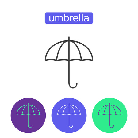 Rainbow umbrella outline icons set. Illusztráció