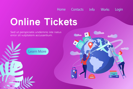 Online tickets banner in flat style.