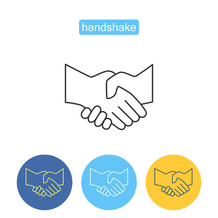 Partners handshake outline icons set.