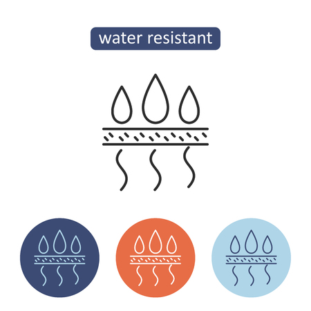 Water resistant material outline icons set. Protective fabric properties. Textile manufacturing industry sign for web design. Clothing production vector illustration isolated on white background.