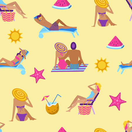 Summer time vacation seamless pattern. People sunbathing at summer recreation. Tropical relaxation background in flat style. Man and woman in swimwear enjoy on chaise lounge vector illustration.