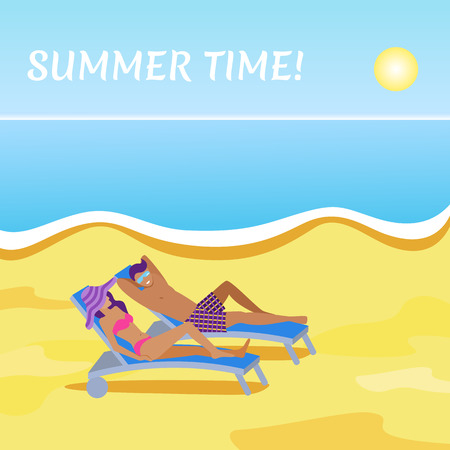 Summer time vacation banner in flat style. Young couple in swimwear sunbathing on sand beach together. Man and woman lying on chaise lounge vector illustration. Tropical relaxation at sunny day.