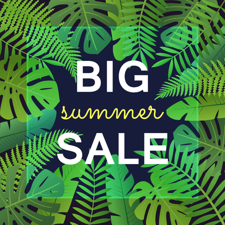 Big summer sale banner with tropical leaves. Palm tree and fern leaves on deep blue background vector illustration. Retail seasonal promotion and advertisement. Summer shopping campaign. 向量圖像