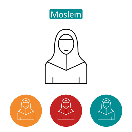 Moslem in hijab outline icons set.