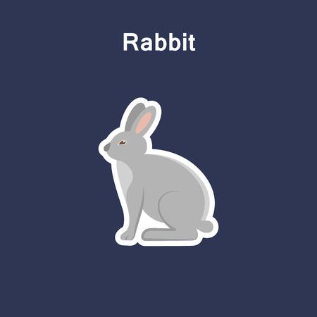 Rabbit flat icon sticker