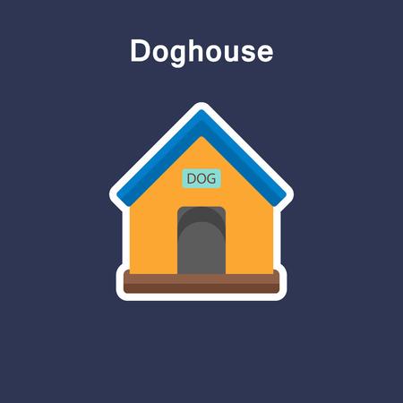 Doghouse flat icon sticker Ilustracja