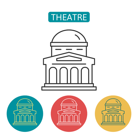Theatre building outline icons set.
