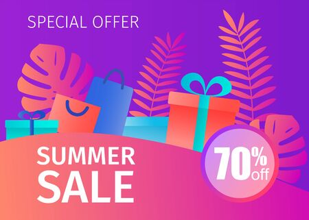 Summer sale banner with tropical leaves and gift boxes.