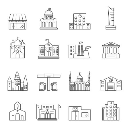 Urban infrastructure outline icons set. Editable stroke city building signs. Vector Illustration