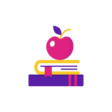 Book and apple icon. Education symbol stack of books and red apple.