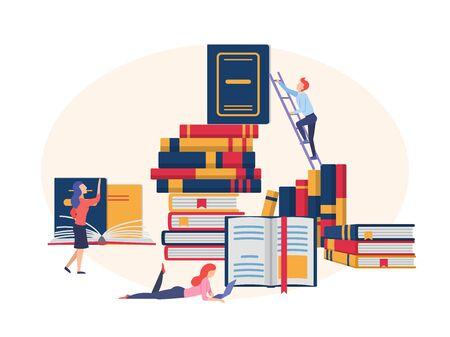 Lecture de livres, concept de bibliothèque d'un petit peuple lisant un énorme livre ouvert. Vecteurs