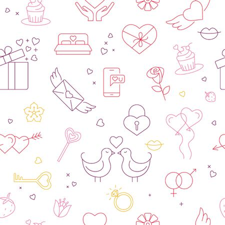 Seamless pattern   with wedding signs and symbols.