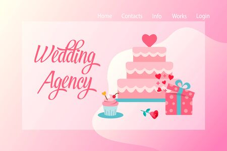 Wedding agency web banner with wedding cake and gift on a background. Icons of events and special occasions organization, catering service agency, marketing agency. Vector illustration in flat style.