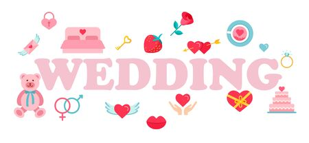 Wedding word typography design in pink color suitable for logo, banner or text design.