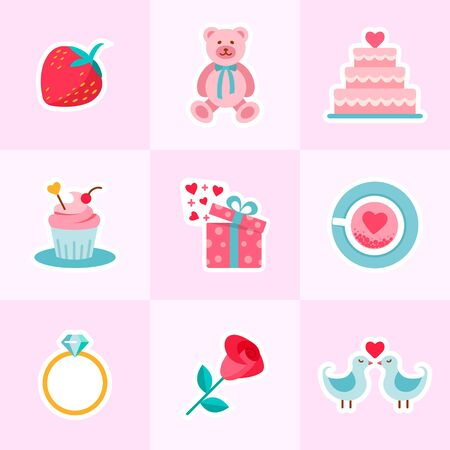 Valentines and Wedding  in flat design style. Standard-Bild - 129246687