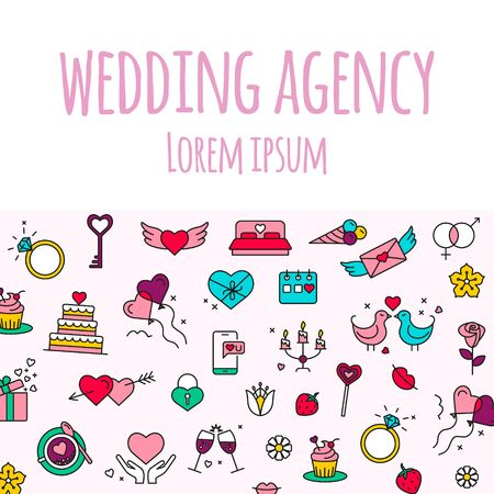Wedding agency- line design style banner on white  with love icons. Иллюстрация