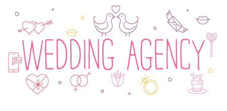 Wedding agency- line design style banner on white  with love icons. Standard-Bild - 129246696