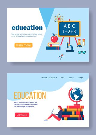 Flat design concepts of education and online learning.