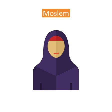 Muslim in hijab outline icons. Çizim