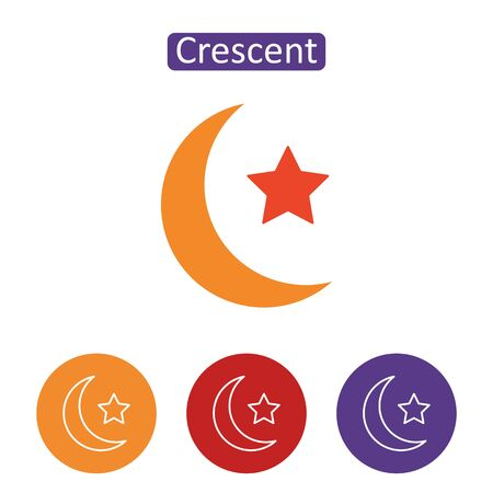 Star and crescent icon on white Çizim