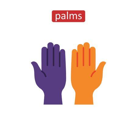Open human palms flat icons set.