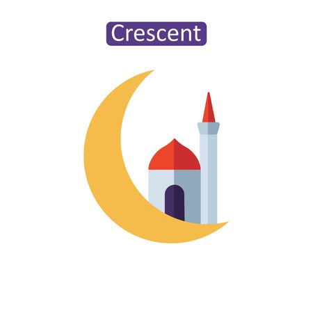 Arabic crescent flat icons. Çizim