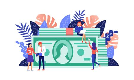 Dollar bill and people planning profit flat vector concept. Financial review, economic forecast, marketing. Earning, investment, Banking concept. Design for website templates, posters, banners.