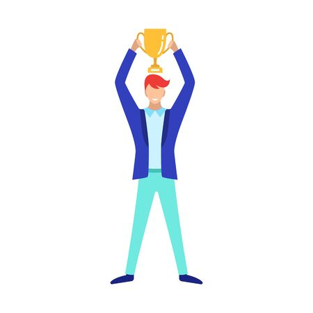 Businessman with a Cup in his hands, a champion in business. Flat style character vector illustration isolated on white background.
