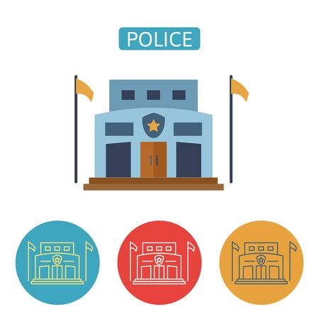 Police station building flat icons.