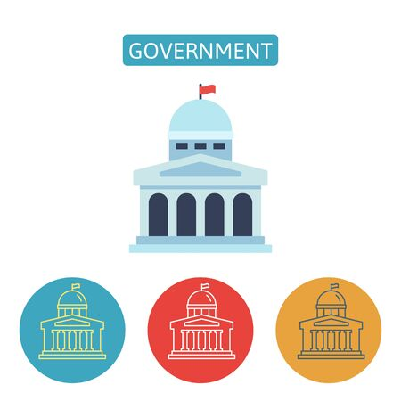 Government building flat icons on white