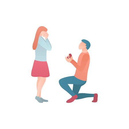 Valentines Day gift a color flat illustration. A man gives a gift to a woman. A man stands on one knee in front of a woman and engagement to her. Relationship between two people before the wedding.