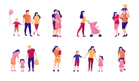 Adults and children together flat illustration set. A collection of people and family relationships, joint leisure and entertainment together. Family values, embrace, care, motherhood and love.