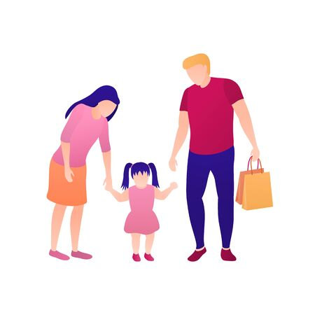 Mom dad and daughter flat illustration on white isolated background. Happy family of three walk with a small child. The concepts of weekend leisure and family vacation. Man and woman with child.