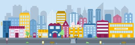 Panorama of the city with flat style vector buildings.