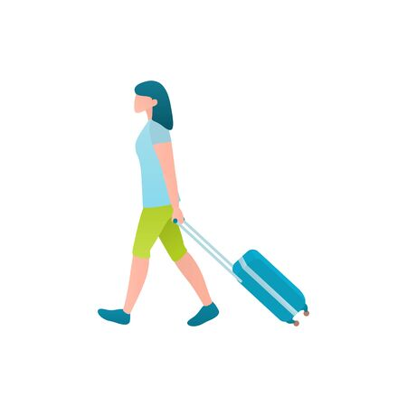 Tourist with luggage bag, vector flat illustration of weekend concept.